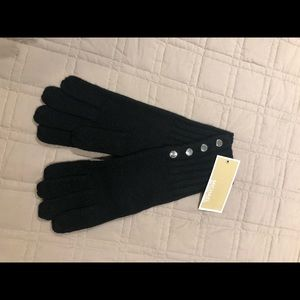 Michael Kors Black Silver Button Up Gloves